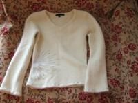 puloveras alb-crem cu paiete