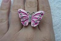 Inel ajustabil cu fluture roz
