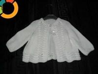 Puloveras alb pentru fetite 6 - 12 luni.