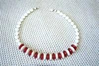 Colier alb/rosu