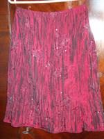 Fusta tafta rosu-visiniu cu model aplicat, marimea 38