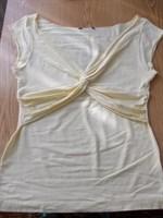 Bluza galbena, bumbac cu elastan, model deosebit