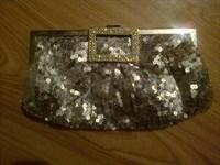Geanta cu paiete argintie tip portofel