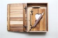 Set lemn cutie + carnetel+ pix
